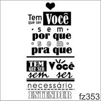 Adesivo Parede Tem Que Ser Você Casal Música Amor Fz353