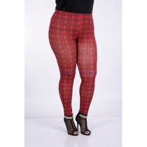 Calça Legging Xadrez Viscostretch Plus Size Tam. 48 50 52 54