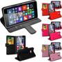 Case Nokia Lumia 640 Carteira De Couro + Pelicula De Vidro
