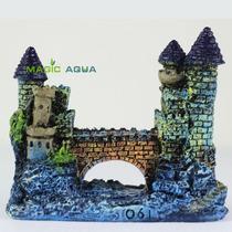 Decoração Aquário Castelo Medieval Detalhada Pintados À Mão