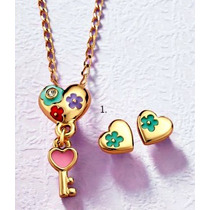 Collar + Aretes Baño Oro Corazon Llave Magica Niña Esika