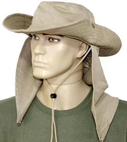Chapéu Safari Com Proteção - Jogá - Cor Caqui - R  41 9b4dd365fac