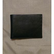 Cartera Billetera Para Caballero, Color Negro De Cuero