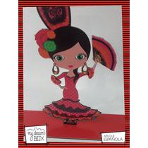 Souvenir Evento Aplique Madera 40cm Dama Española Flamenco