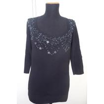 Sweater / Remera Tejida De Vestir Con Canutillos Bordados
