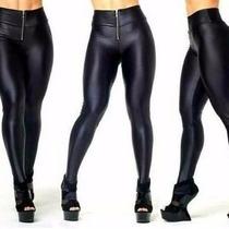Calça Disco Hotpants Cintura Alta Brilhante Com Ziper