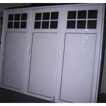 Portón Aluminio Blanco 1/4 Repartido 270x200 Vidrio Arenado