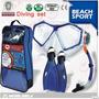 Kit Profesional Buceo Winmax Lentes + Dry Snorkel + Aletas