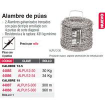 44886 Alambre De Púas, Calibre 12.5, Rollo De 34 K