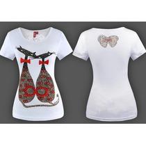 Blusa Camiseta Bordada Gato Paetê Super Fashion