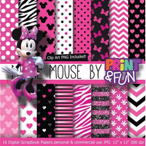 Kit Imprimible Pack Fondos Minnie Mouse Clipart Cod 3