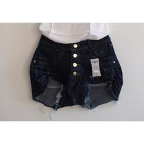 Shorts Cintura Alta Jeans Destroyed Rasgada Cós Alto Panicat