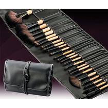 Kit De Pincel Maquiagem Profissional 24 Pcs Com Estojo