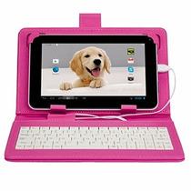 Capa Teclado Rosa Tablet Multilaser 7 Pledadas V8 V3 Nova