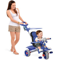 Carrinho E Triciclo Passeio Criança Infantil Comfort Azul