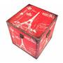 Baú De Madeira Torre Eiffel Caixa Vermelha 32cm