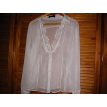 Blusa Camisa Blanca Con Bolados Cuello Xl Organza Ml Hope