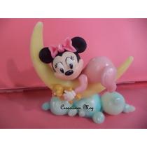 Souvenir Minnie Bebe En Luna , Porcelana Fria