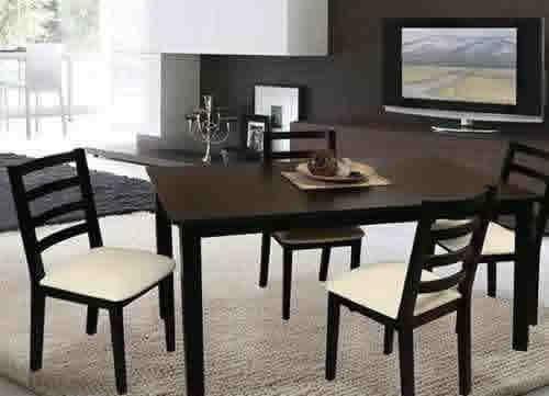 Juego de comedor en madera 1.60x0.90   4 sillas tapizadas ...