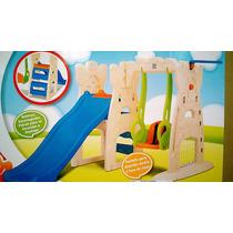 Playground Infantil Escorregador Balanço E Cesta De Basquete