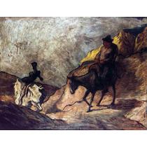 Lienzo Tela Don Quijote Y Sancho Por Honoré Daumier 50x65 Cm