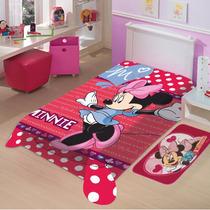 Cobertor Jolitex Solteiro Raschel Macio Disney Minnie Mouse