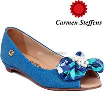 Sapato Peep Toe Carmen Steffens Azul Turquesa Perola Couro 7