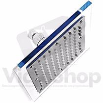 Chuveiro Ducha Quadrada Acrílico Metal Aço Inox Slim 20x20cm