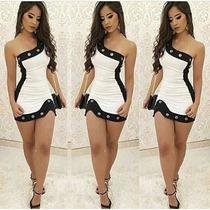 Vestido Curto Mula Manca Preto E Branco Com Ilhós.