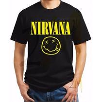 Camisa Nirvana Camiseta Rock Bandas Metallica Ramones Acdc