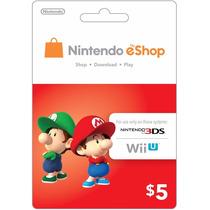 Tarjeta Nintendo Eshop Prepago Wii U 3ds $5 Usd Region Usa