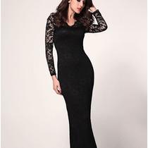 Vestido Largo Casual De Fiesta Con Encaje Elegante 789