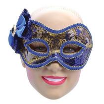 Disfraz Medieval Máscara Azul Y Dorada Con Moño