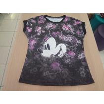 Camisa Ellus Kids Flame Fin E Mickey Careca - Preto E Roxo.