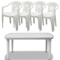 Mesa De Plástico Branca 136x84x74cm + 4 Cadeiras Com Braço