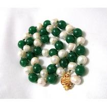 Collar Jade Imperial, Perlas-oro14k-plata De Hermo Espinosa