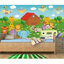 Papel Parede Painel Adesivo Animais Safari Infantil Zoo Md26