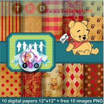 Kit Imprimible Fondos Winnie Pooh Papel Digital Clipart