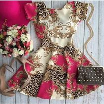 Vestido Estampado Boneca Princesa Rodado C Bojo