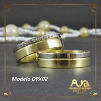 Alianças Ouro 12k Ouro Branco Pedras-6mm-frt Gr-12xs/j Dpx02