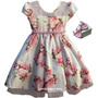 Vestido Festa Infantil Floral Ano Novo Formatura Com Tiara