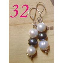 Lindos Par De Aros De 4 Perlas Blancas Y 2 Negras En Plata