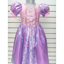 Hermoso Vestido Disfraz Princesa Rapunzel Enredados De Lujo