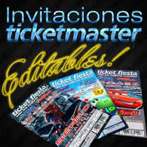 Invitaciones Imprimibles Tipo Ticketmaster Editables Kit