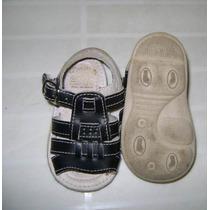 Huaraches Negro Para Bebe Talla 12 Corte Piel