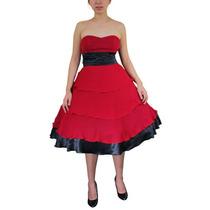 Vestido Strapless Rojo Con Detalles En Negro