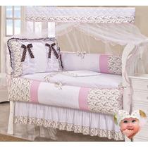 Protetor Berço Bebê Rosa Floral + Cortina Lacinho + Saia 11p