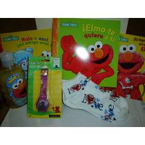 Art. De Elmo Plaza Sesamo + Shampoo+ Libros Vjr