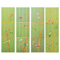 Biombo Verde Decorativo Com Pássaros