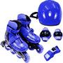 Kit Roller - Patins Inline Com Proteções - Azul G: 36-39